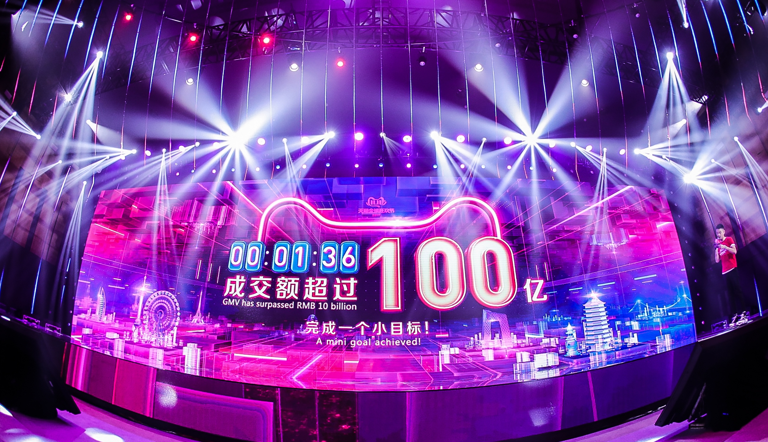 A screen shows the gross merchandise volume, a measure of sales, after 1 minute 36 seconds of Singles Day sales on Nov. 11, 2019. (Credit: AFP China OUT via Getty Images)