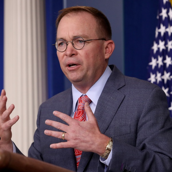 Acting White House Chief of Staff Mick Mulvaney answers questions during a briefing at the White House Oct. 17, 2019, in Washington, D.C. (Credit: Win McNamee/Getty Images)