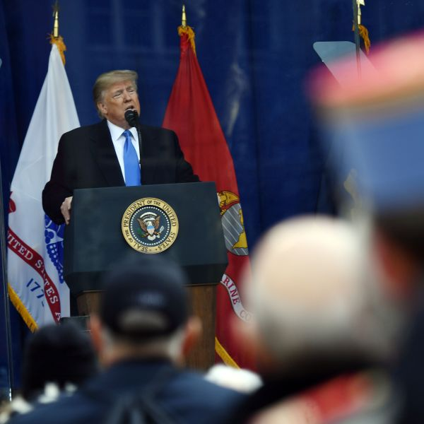 US President Donald Trump delivers remarks during the New York City Veterans Day Parade on November 11, 2019 in New York. (Credit: BRENDAN SMIALOWSKI/AFP via Getty Images)