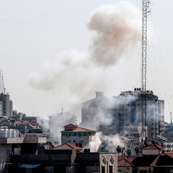 Smoke billows in Gaza City following an Israeli strike on November 12, 2019. (Credit: MAHMUD HAMS/AFP via Getty Images)