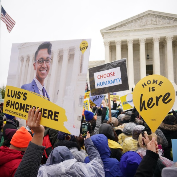 Immigration rights activists take part in a rally in front of the U.S. Supreme Court in Washington, D.C. on Nov. 12, 2019. (Credit: MANDEL NGAN/AFP via Getty Images)