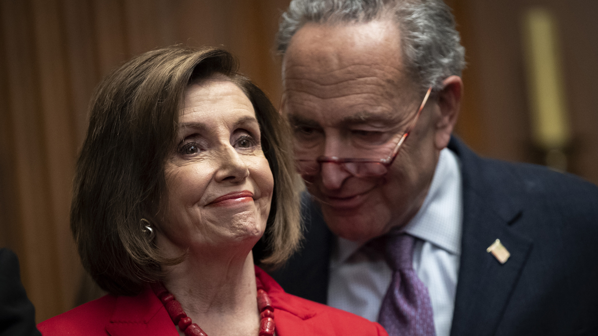U.S. House Speaker Nancy Pelosi and Senate Minority Leader Chuck Schumer speak at a news conference at the U.S. Capitol on Nov. 12, 2019, in Washington, DC.(Credit: Drew Angerer/Getty Images)