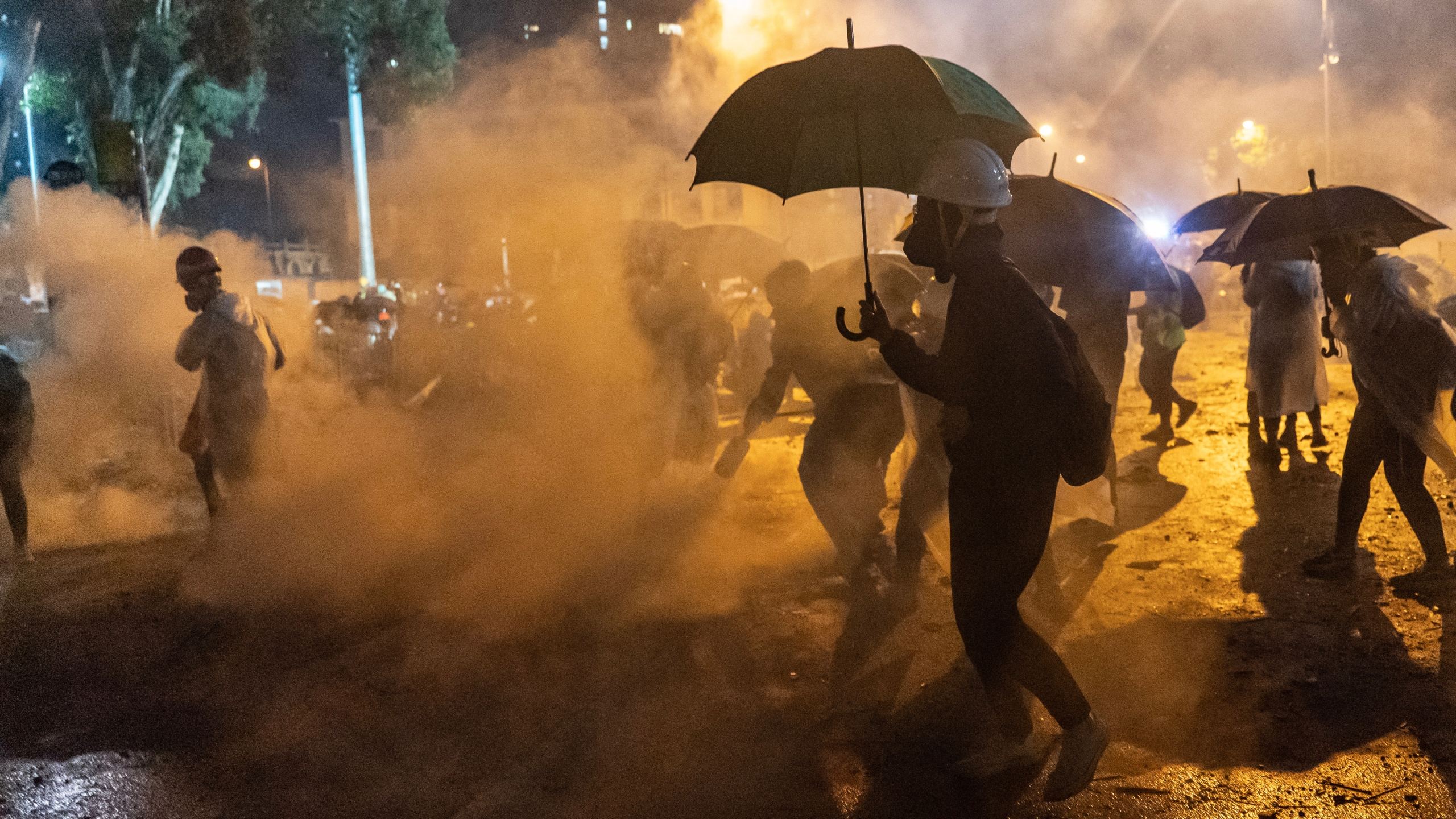 Protesters clash with police as police fire teargas at them at The Hong Kong Polytechnic University on Nov. 18, 2019, in Hong Kong, China. (Credit: Anthony Kwan/Getty Images)