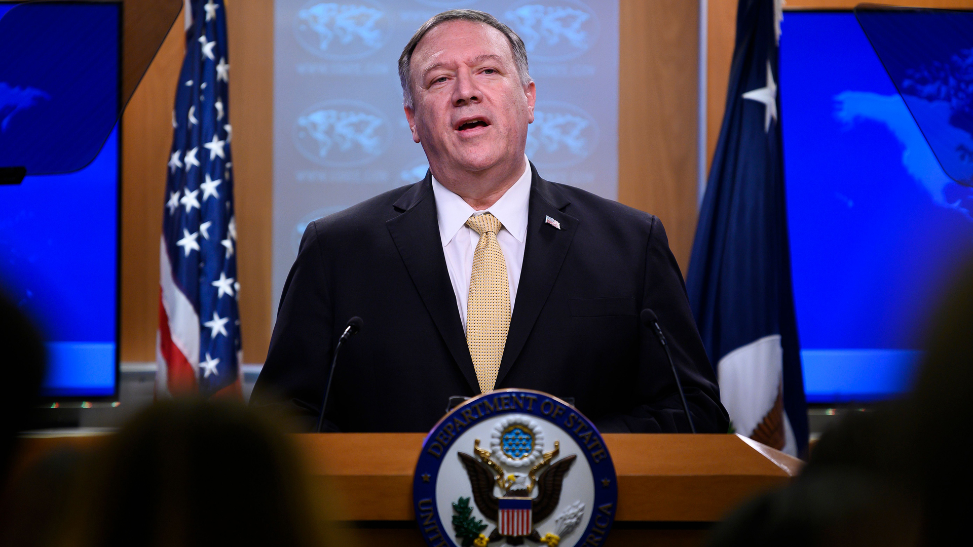 U.S. Secretary of State Mike Pompeo makes a statement during a press conference at the US Department of State in Washington, DC, on Nov. 18, 2019. (Credit: Jim Watson/AFP via Getty Images)