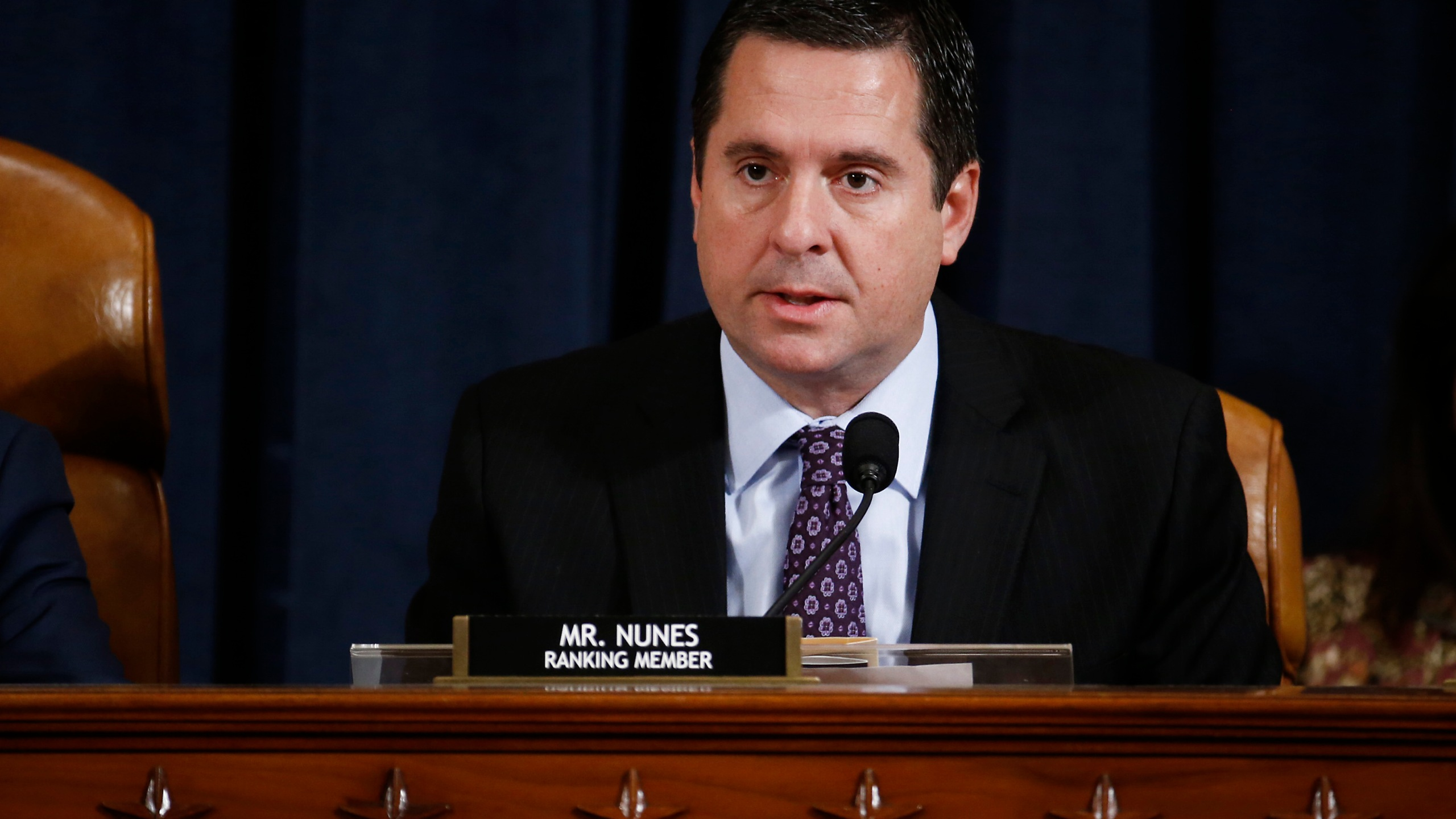 Rep. Devin Nunes, a California Republican and ranking member of the House Intelligence Committee, speaks during an impeachment inquiry hearing on Nov. 21, 2019. (Credit: Andrew Harrer / Getty Images)