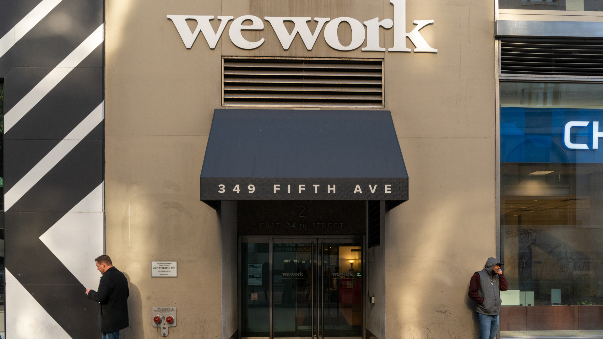 A WeWork office located at 349 5th Avenue is shown on Nov. 21, 2019. (Credit: David Dee Delgado/Getty Images)
