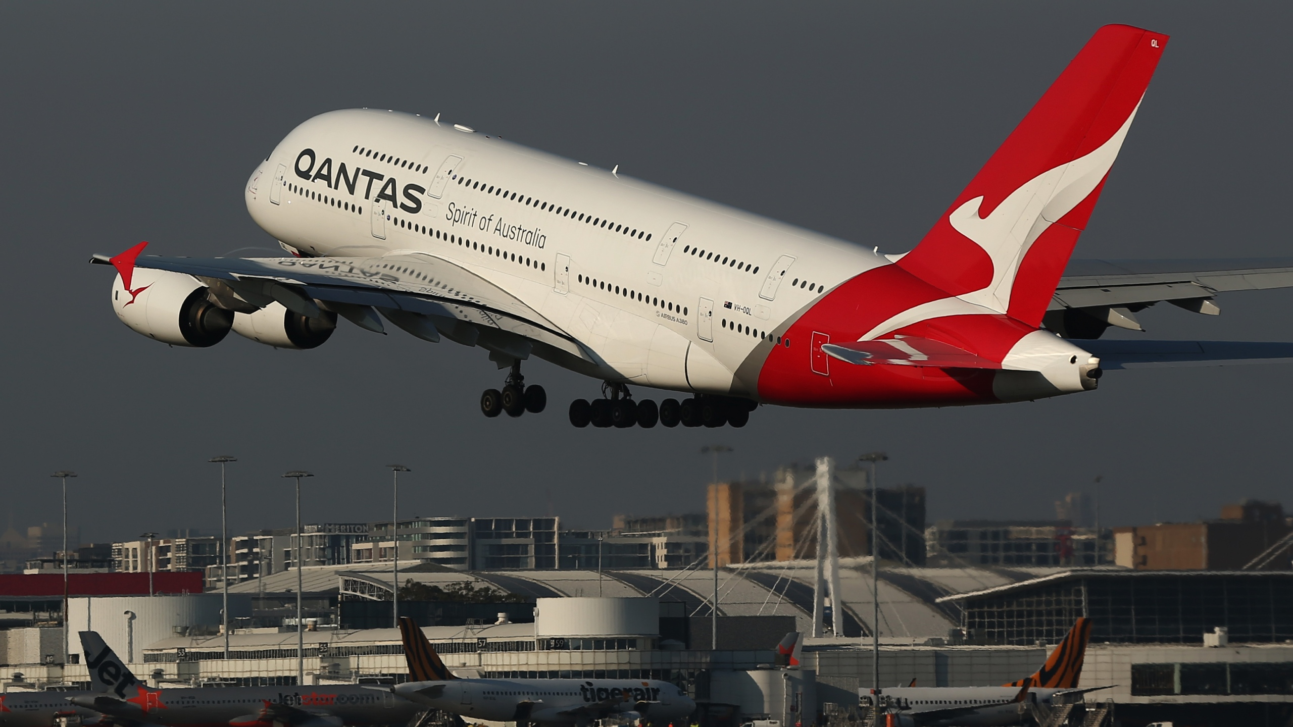 A Qantas A380 plane takes off from Sydney Airport on October 31, 2019. (Credit: Brendon Thorne/Getty Images)