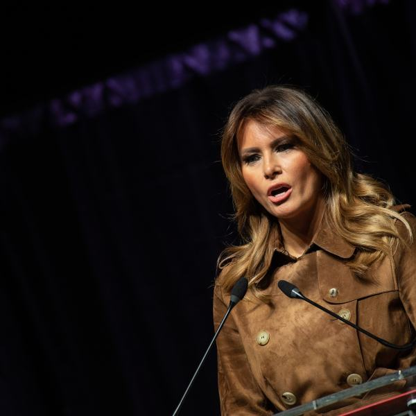 Melania Trump addresses the B'More Youth Summit in Baltimore, Maryland, on Nov. 26, 2019. (Credit: NICHOLAS KAMM/AFP via Getty Images)