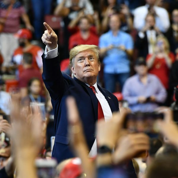 President Donald Trump points with his finger to supporters during a campaign rally in Sunrise, Florida, on Nov. 26, 2019. (Credit: Mandel Ngan / AFP / Getty Images)