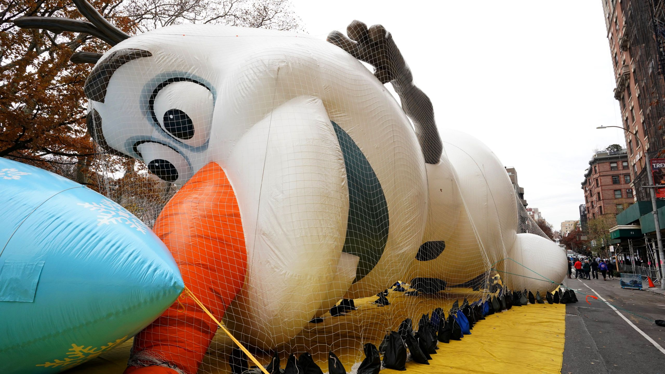 Olaf, a fictional character from Disney's Frozen, is pictured during the Macy's Thanksgiving Day Parade balloon inflation in New York City on Nov. 27, 2019. (Credit: TIMOTHY A. CLARY/AFP via Getty Images)