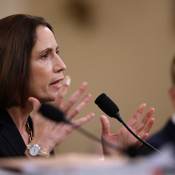 Fiona Hill, the National Security Council's former senior director for Europe and Russia, testifies before the House Intelligence Committee in the Longworth House Office Building on Capitol Hill on Nov. 21, 2019 in Washington, D.C. (Credit: Drew Angerer/Getty Images)