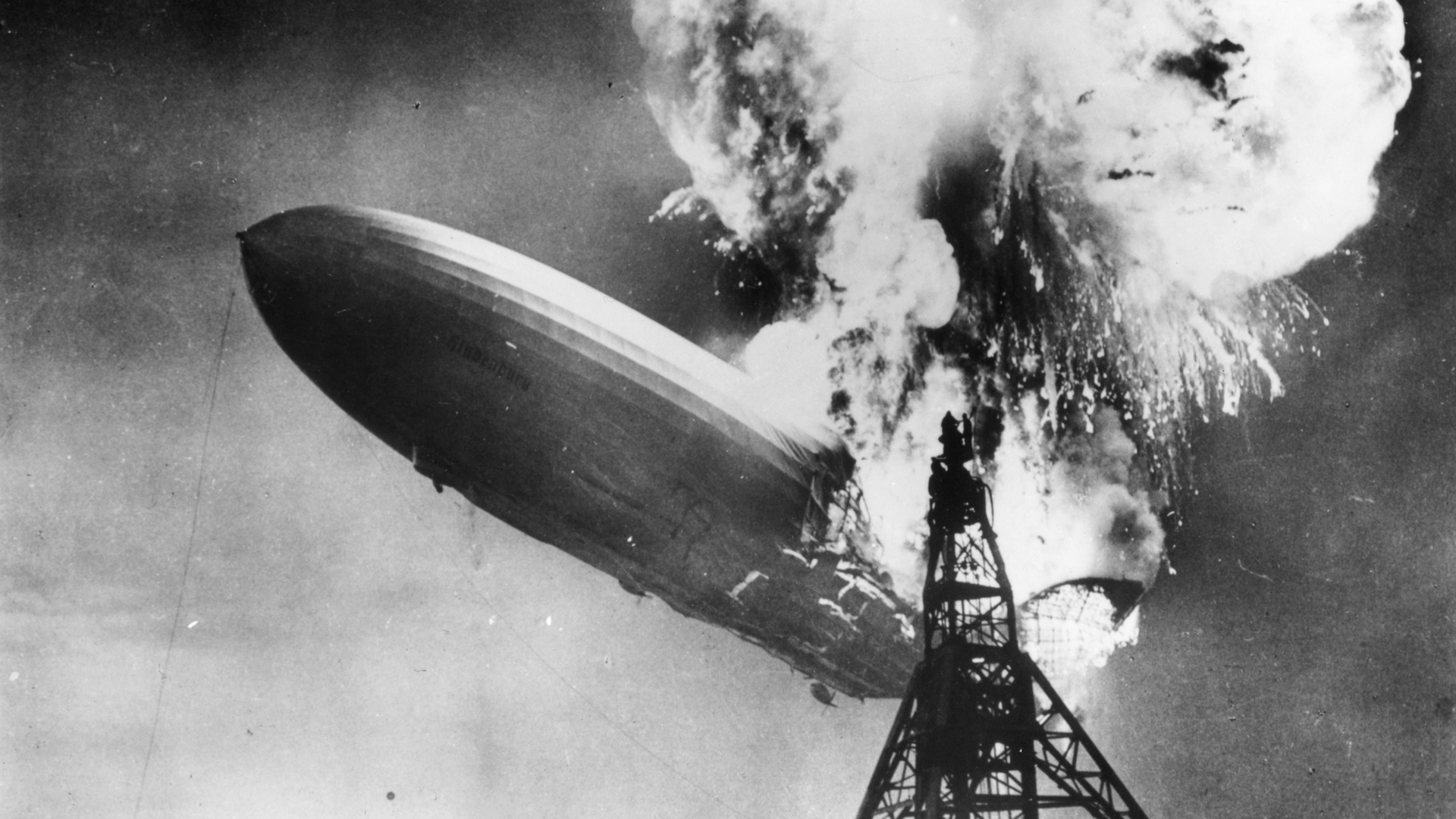 The Hindenburg disaster at Lakehurst, New Jersey on May 1937. (Credit: Sam Shere/Getty Images)