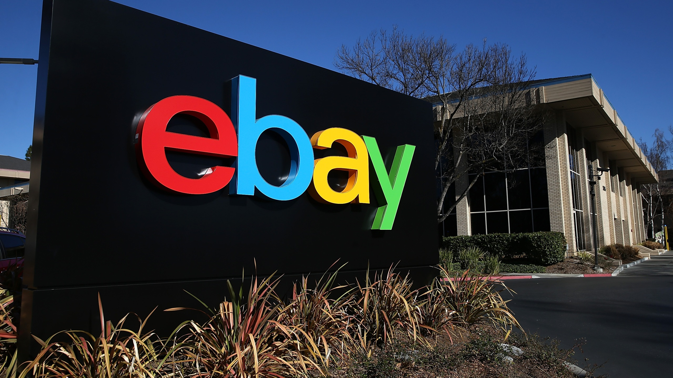 A sign is posted in front of the eBay headquarters on January 22, 2014 in San Jose, California. eBay Inc. (Credit: Justin Sullivan/Getty Images)