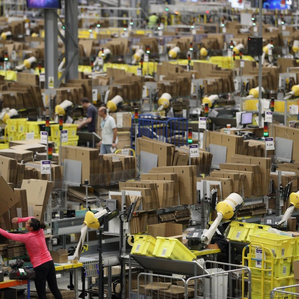 Parcels are processed and prepared for dispatch at Amazon's fulfillment centre on Nov. 15, 2016, in Peterborough, England.(Credit: Dan Kitwood/Getty Images)
