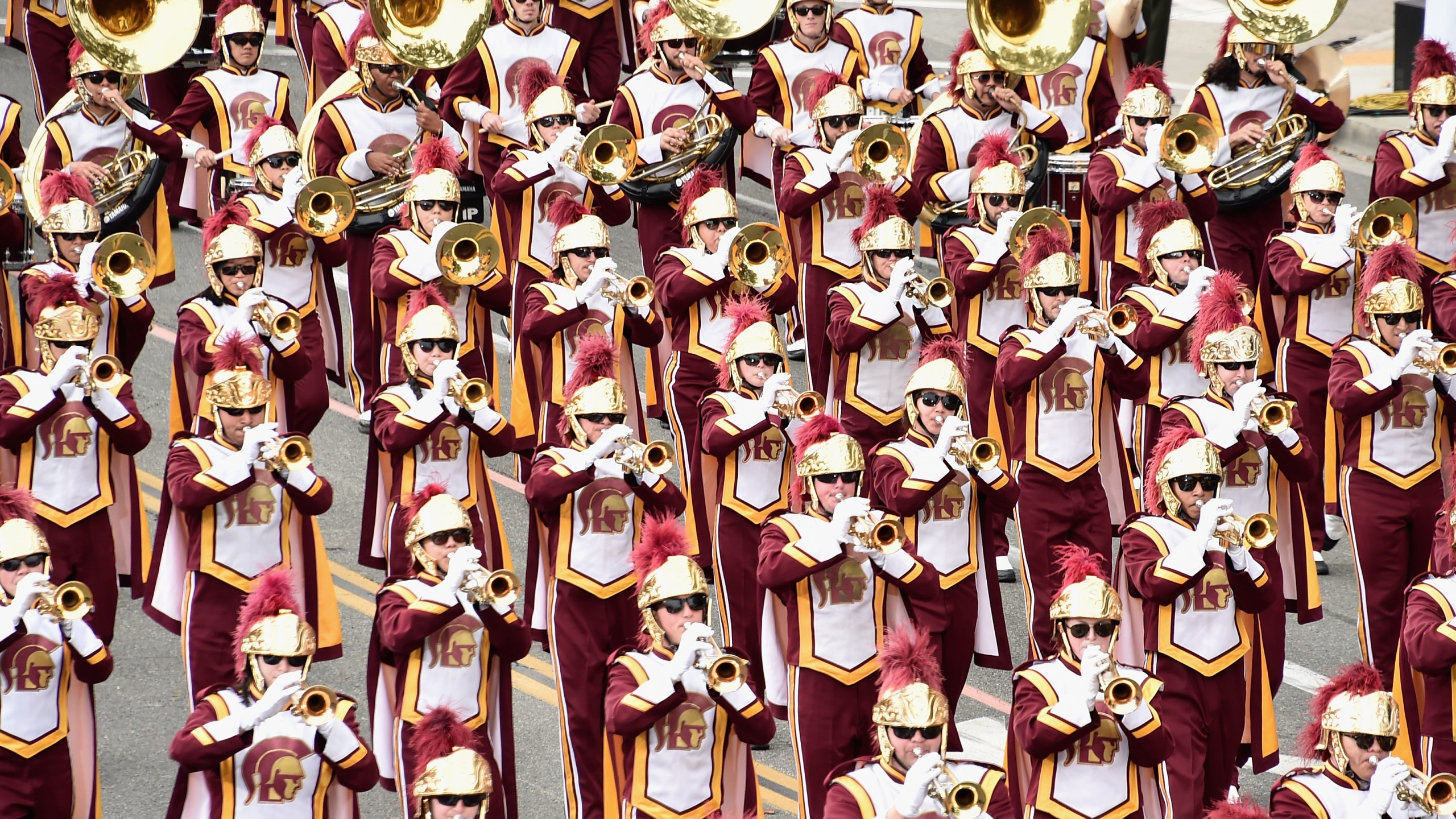The USC Marching Band participates in the 128th Tournament of Roses Parade on Jan. 2, 2017, in Pasadena, California. (Credit: Alberto E. Rodriguez/Getty Images)