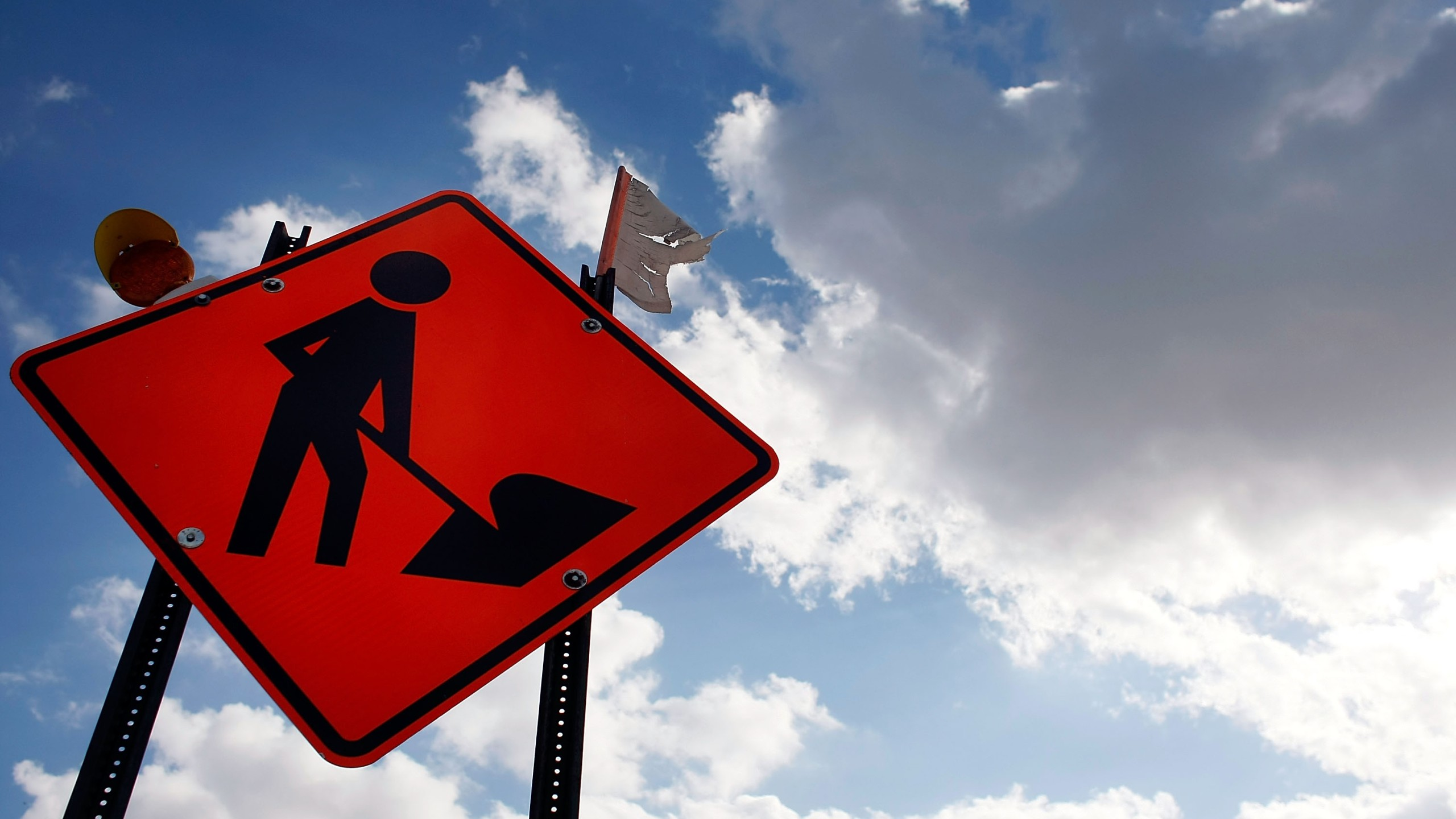 A constuction work sign is seen in this file photo. (Credit: Joe Raedle/Getty Images)