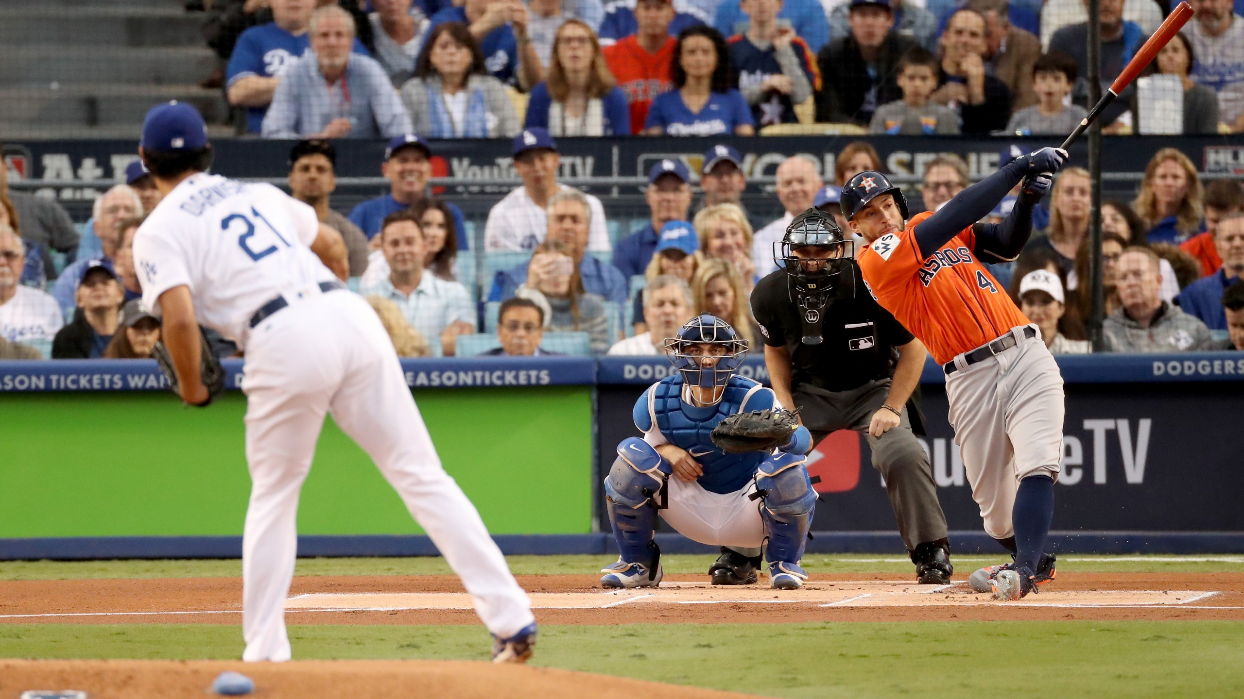 George Springer of the Houston Astros hits a double during the first inning against Dodgers pitcher Yu Darvish in Game 7 of the 2017 World Series at Dodger Stadium on November 1, 2017. (Credit: Christian Petersen/Getty Images)