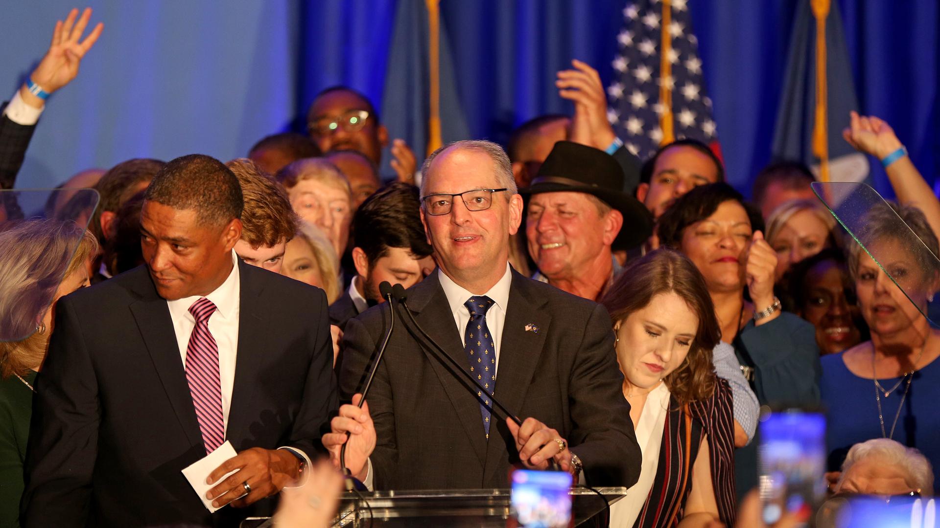 Democratic incumbent Governor John Bel Edwards speaks to a crowd at the Renaissance Baton Rouge Hotel on November 16, 2019 in Baton Rouge, Louisiana. (Credit: Matt Sullivan/Getty Images)
