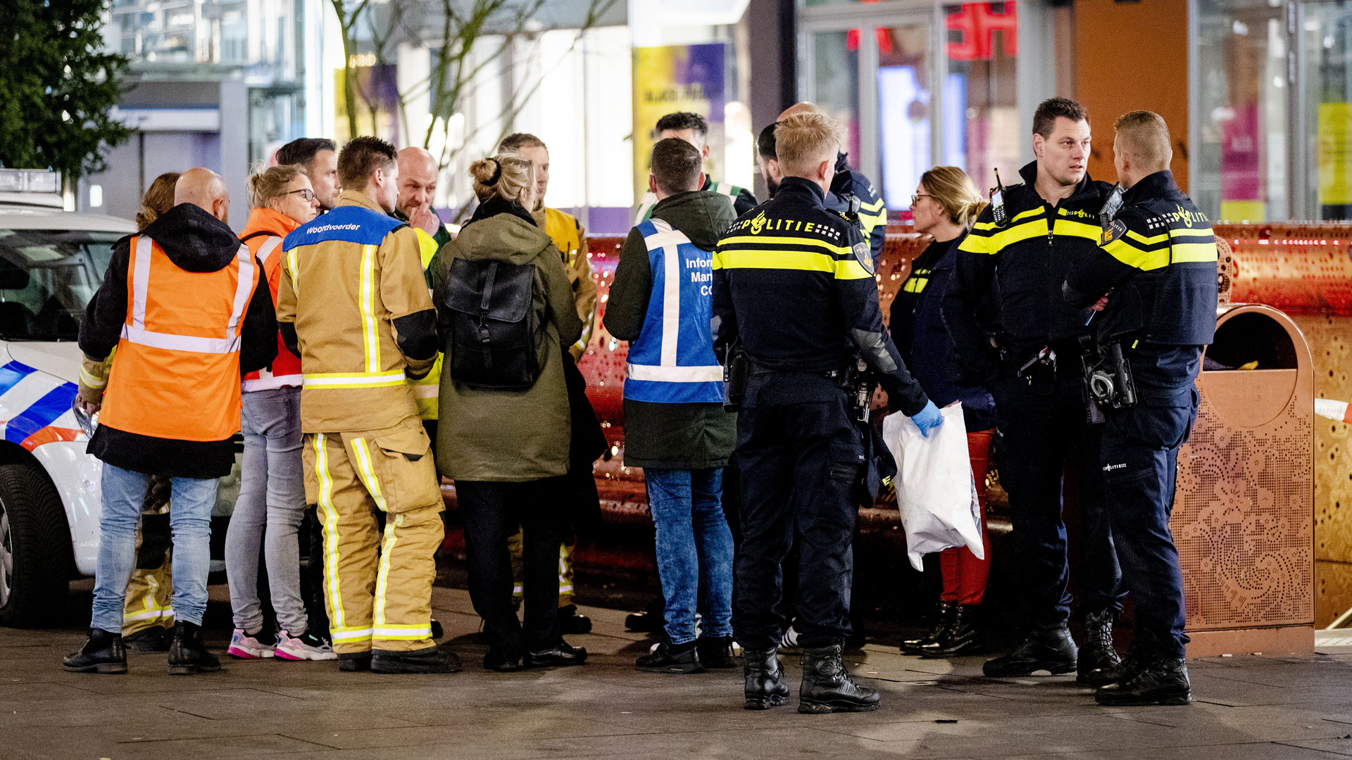 Police arrive at the Grote Marktstraat, one of the main shopping streets in the center of the Dutch city of The Hague, after several people were wounded in a stabbing incident on Nov. 29, 2019. (Credit: Sem Van Der Wal//ANP/AFP/Getty Images)