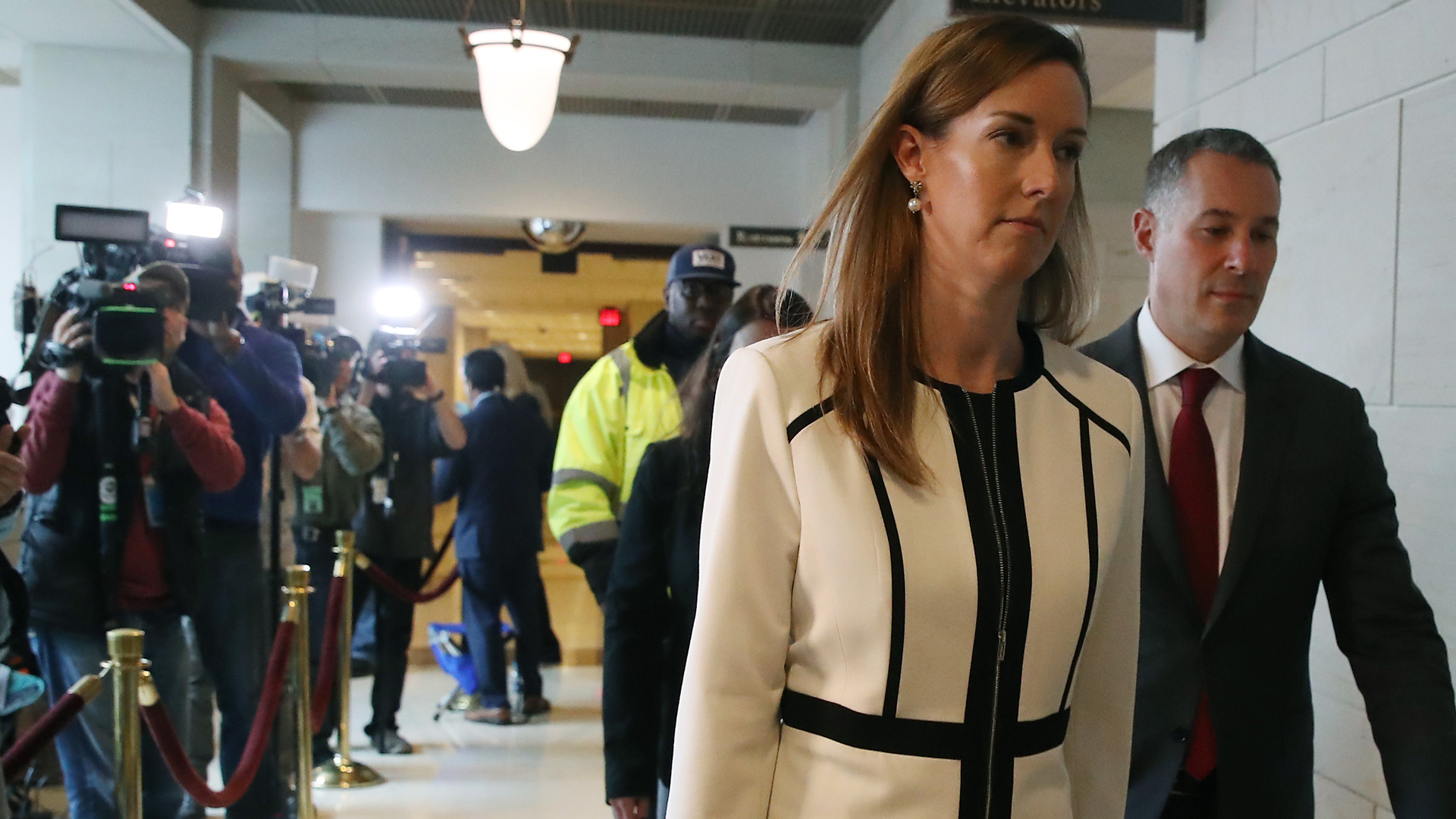 Jennifer Williams, foreign service officer at the State Department, departs from closed-door deposition, on Nov. 7, 2019, in Washington, D.C. (Credit: Mark Wilson/Getty Images)