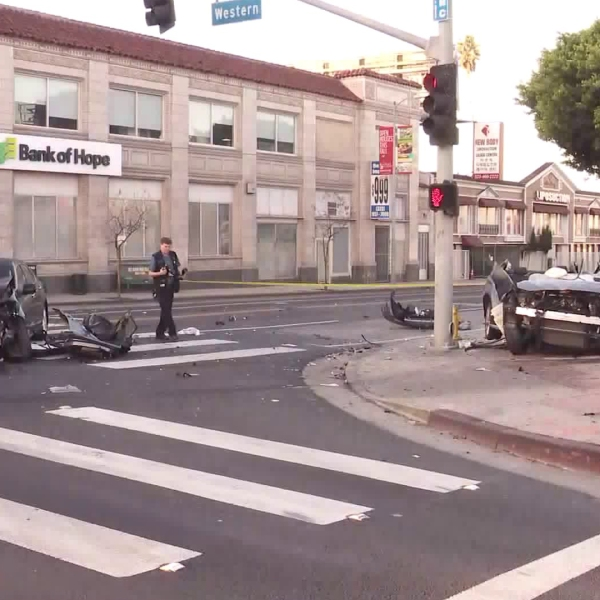 Two vehicles are seen in the aftermath of a crash in Koreatown on Nov. 22, 2019. (Credit: KTLA)