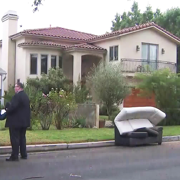 An investigation is underway following a home-invasion robbery in Sherman Oaks on Nov. 6, 2019. (Credit: KTLA)