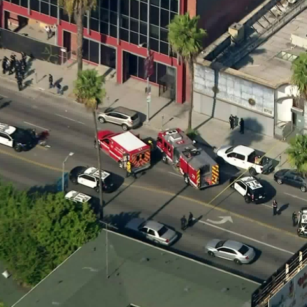 LAPD responds to a report of an officer down in Hollywood on Nov. 25, 2019. (Credit: KTLA)