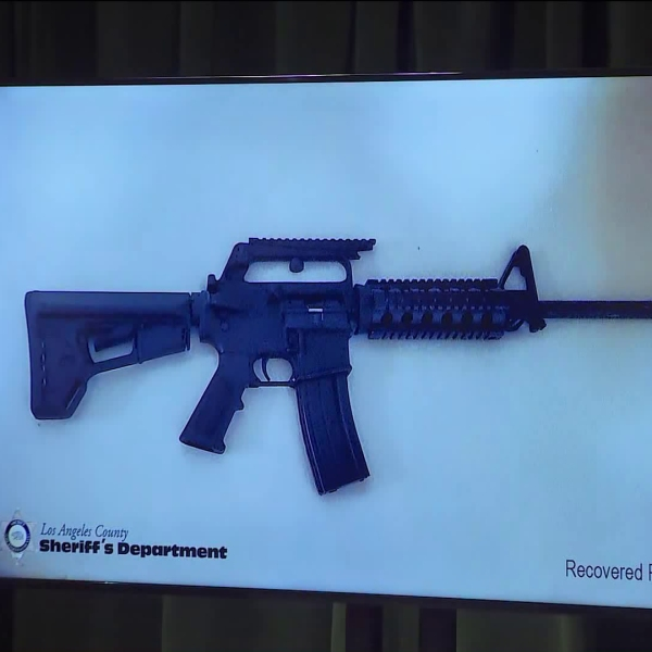 The Los Angeles County Sheriff's Department released this photo of the seized firearm at a news conference held on Nov. 22, 2019. (Credit: KTLA)
