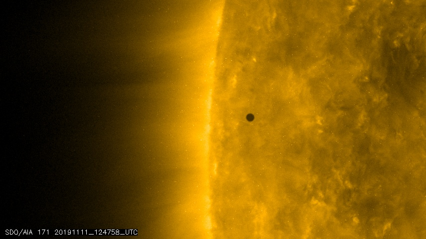 Mercury passes the sun on Nov. 11, 2019. (Credit: NASA)