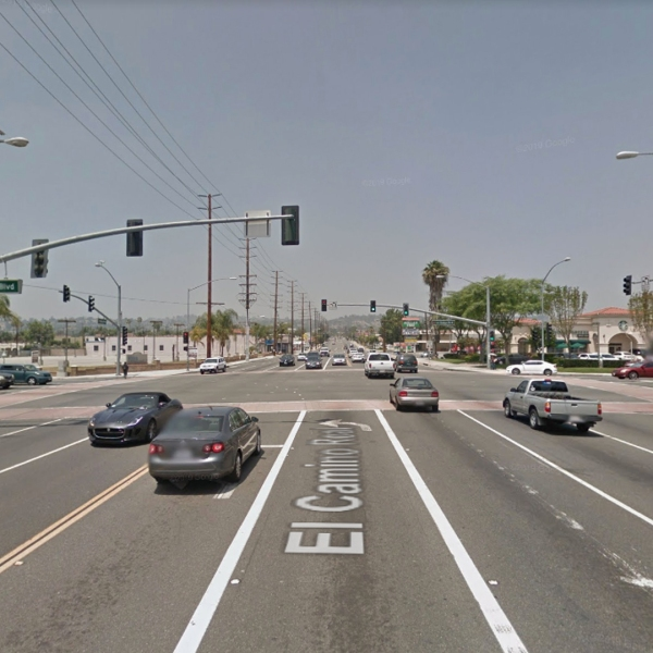 The intersection of La Habra and Harbor boulevards in La Habra, as pictured in a Google Street View image.