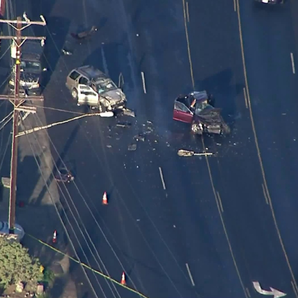 Officials investigated a deadly crash on the Pacific Coast Highway in Malibu on Nov. 8, 2019. (Credit: Sky5)