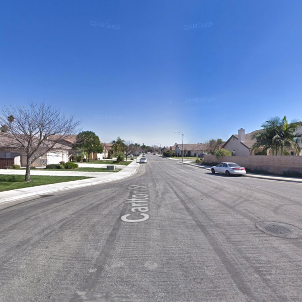 The 5400 block of Carlton Street in an unincorporated portion of San Bernardino County near Montclair, as pictured in a Google Street View image.