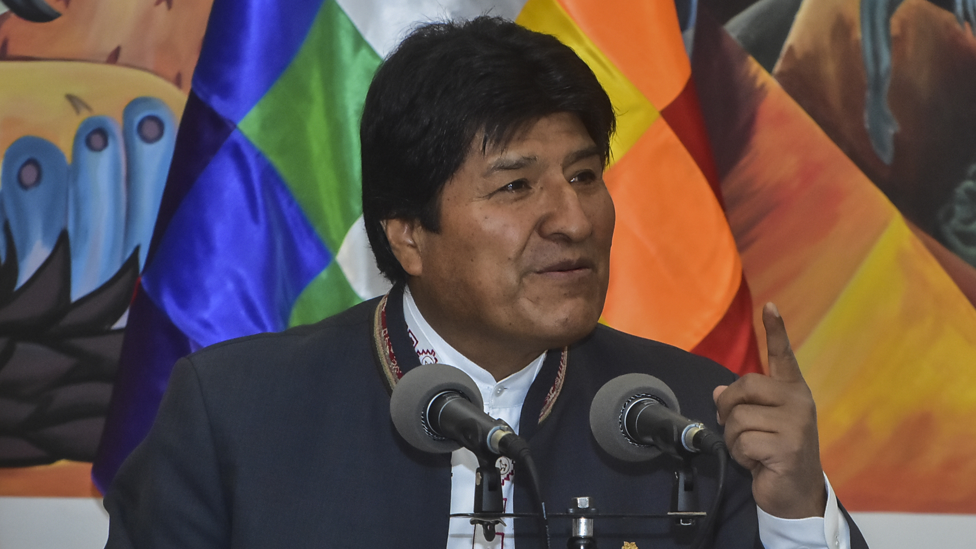 President of Bolivia Evo Morales speaks during a press conference on October 24, 2019 in La Paz, Bolivia. (Credit Javier Mamani/Getty Images)