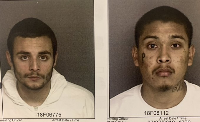 Inmates Santos Fonseca (left) and Jonathan Salazar (right) in an undated booking photo released by the Monterey County Sheriff's Office.