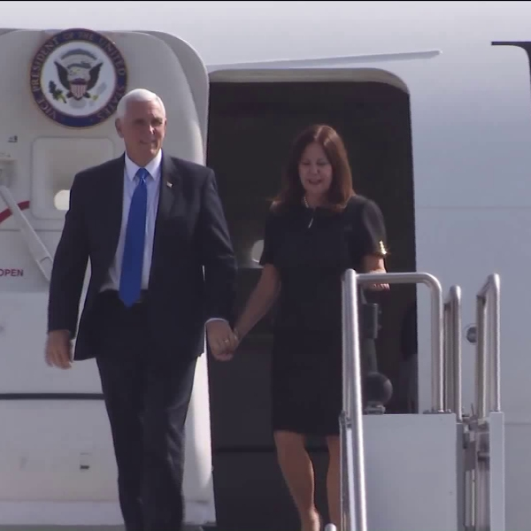 Vice President Mike Pence arrives at Orange County's John Wayne Airport on Nov. 13, 2019. (Credit: KTLA)