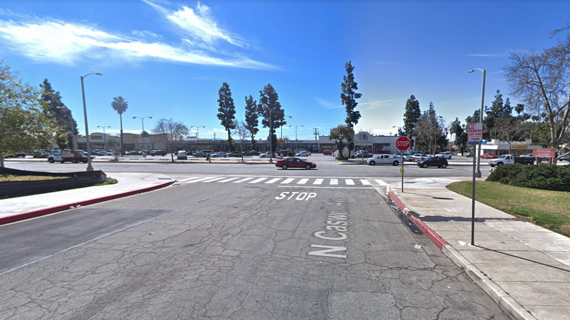 The intersection of Holt and Caswell avenues in Pomona, as pictured in a Google Street View image.