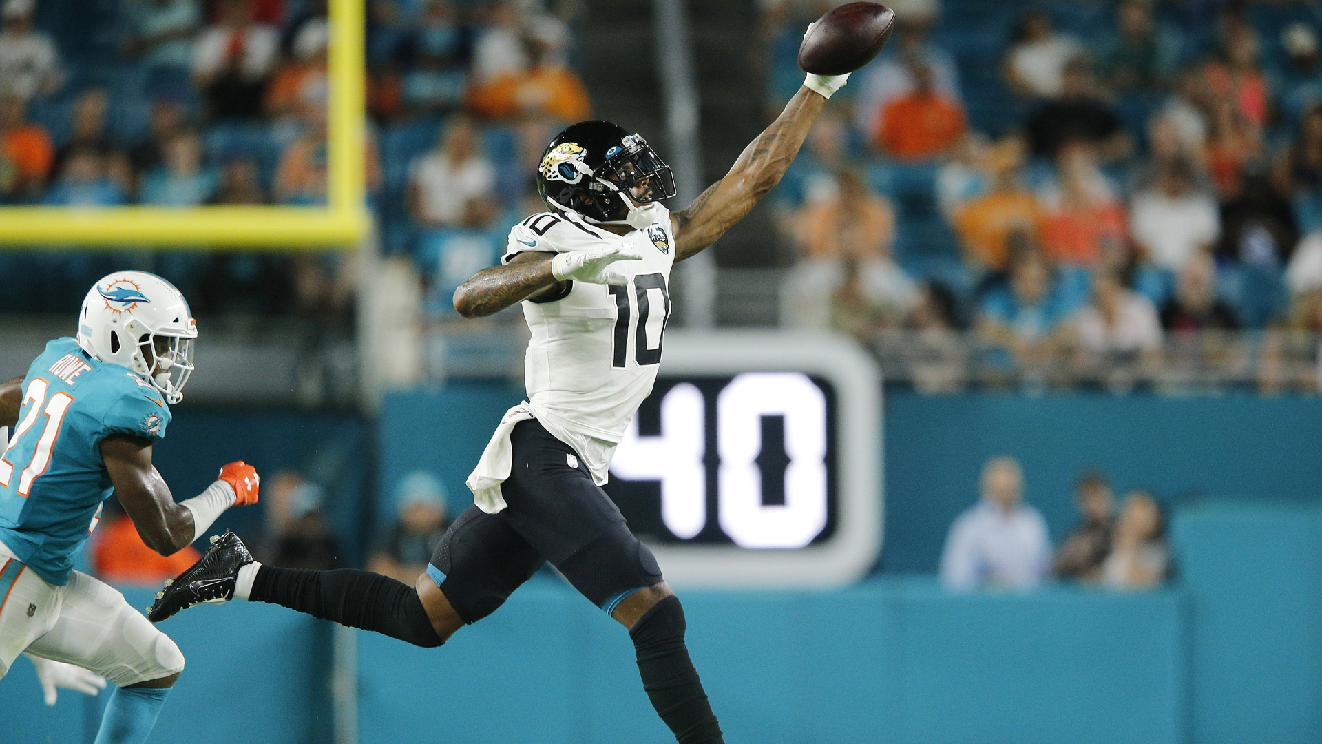 Terrelle Pryor #10 of the Jacksonville Jaguars makes a catch against the Miami Dolphins during the second quarter of the preseason game at Hard Rock Stadium on August 22, 2019 in Miami, Florida. (Credit: Michael Reaves/Getty Images)