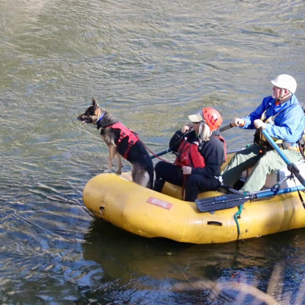 A team searching the Kern River for the body of a missing 11-year-old girl is seen in a photo released by the Kern County Sheriff's Office on Nov. 26, 2019.