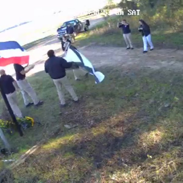 A white supremacist group filmed a video in front of the Emmett Till Memorial in Sumner, Mississippi, over the weekend, officials say. (Credit: Sumner Courthouse and Emmett Till Interpretive Center)