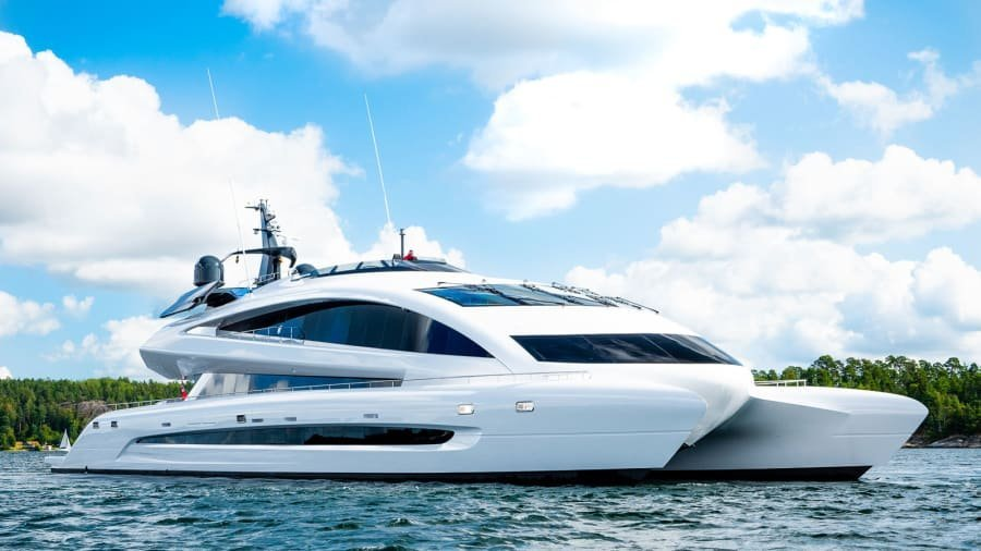 """Described as """"a spaceship on water,"""" the Royal Falcon One is on the market nearly a decade after it was first commissioned."""