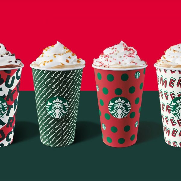 Starbucks' signature holiday cups are seen in this photo released in November 2019. (Credit: Starbucks via CNN)