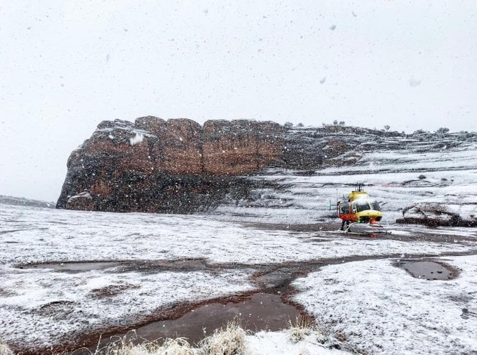 A rescue aircraft is seen after two people were killed and another was injured in a fall near Delicate Arch in Utah's Arches National Park on Nov. 29, 2019. (Credit: Utah Bureau Of Land Management via CNN)
