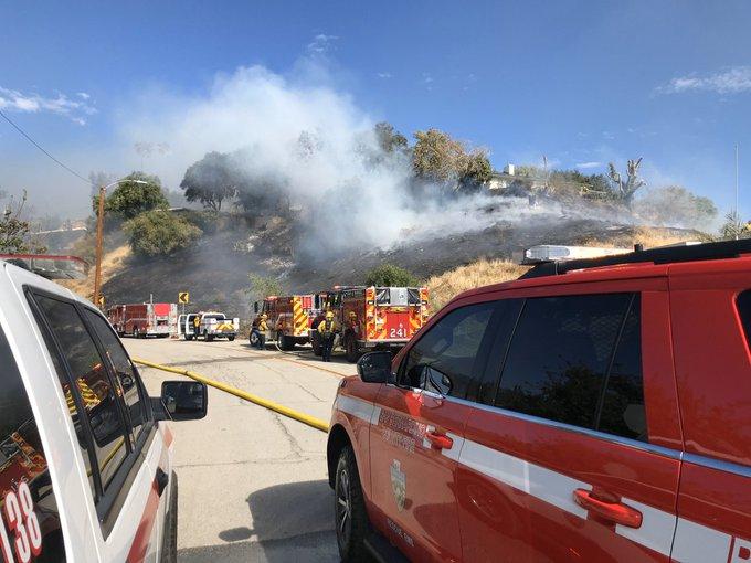 A brush fire in San Bernardino on Nov. 2, 2019, burns through two to three acres. (Credit: San Bernardino Fire Department via Twitter)
