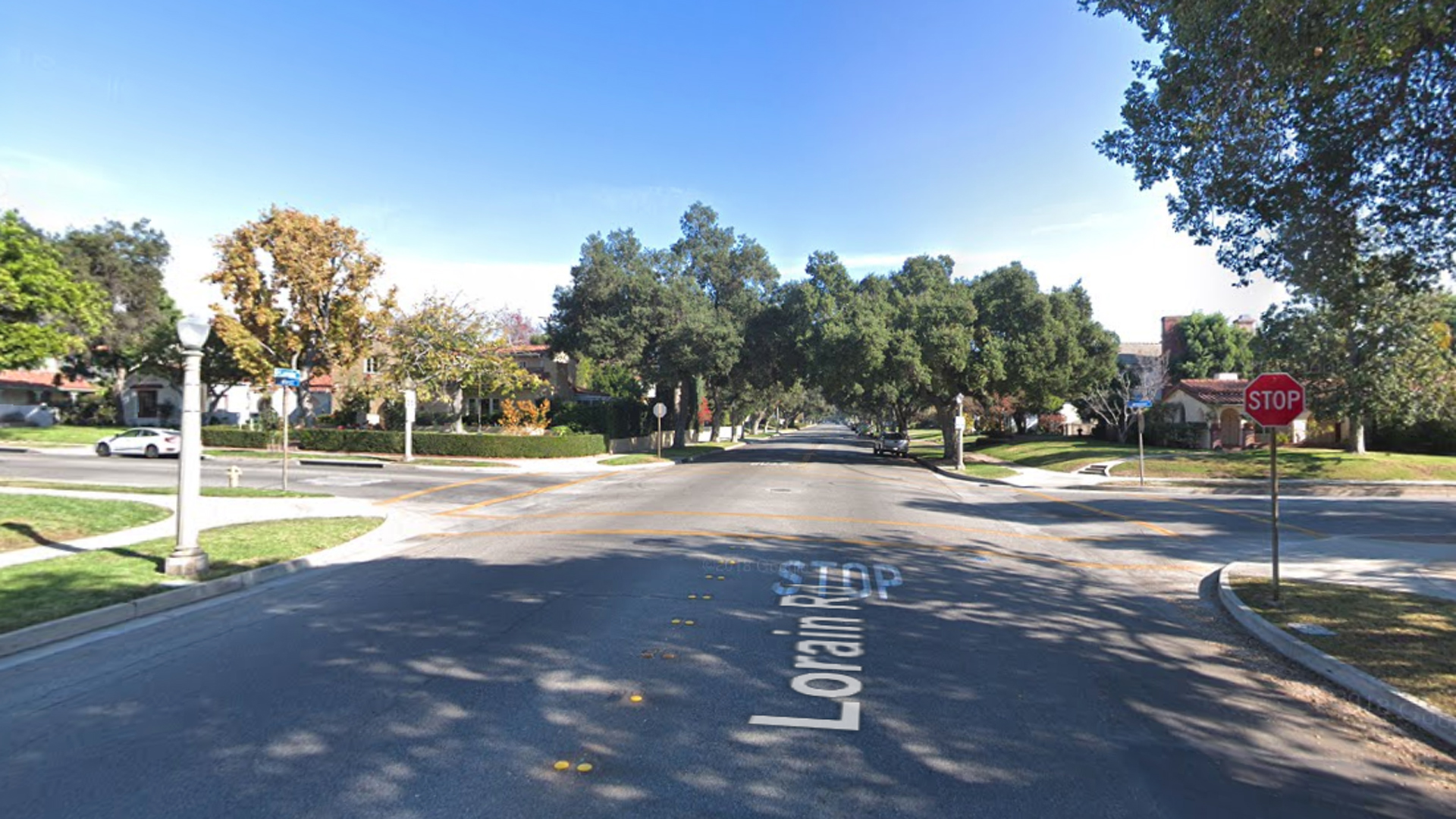 The intersection of Mission Drive and Lorain Road in San Marino, as pictured in a Google Street View image.