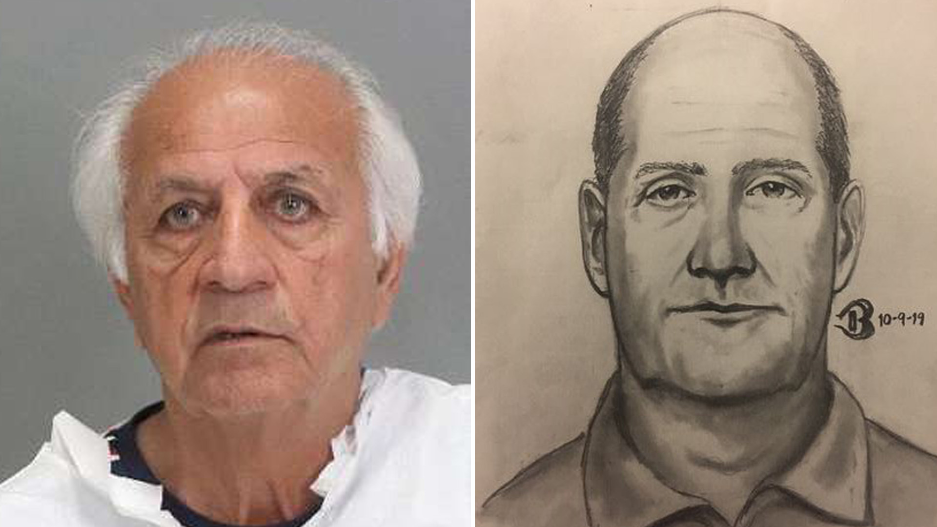 A booking photo and sketch of Ali Mohammad Lajmiri, 76, released by the San Jose Police Department on Nov. 14, 2019.