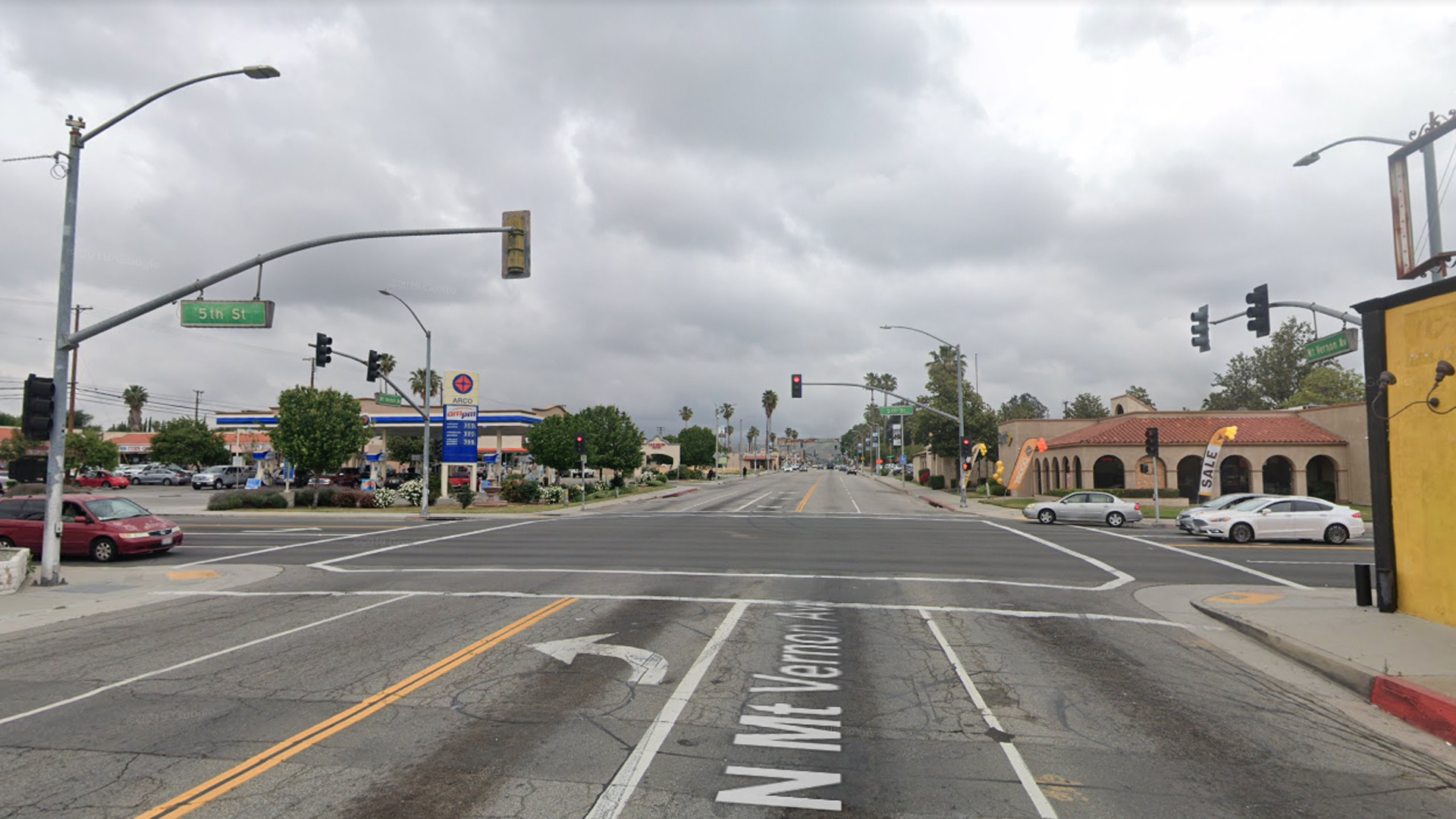 The intersection of Fifth Street and Mount Vernon Avenue in San Bernardino is seen in a Google image.
