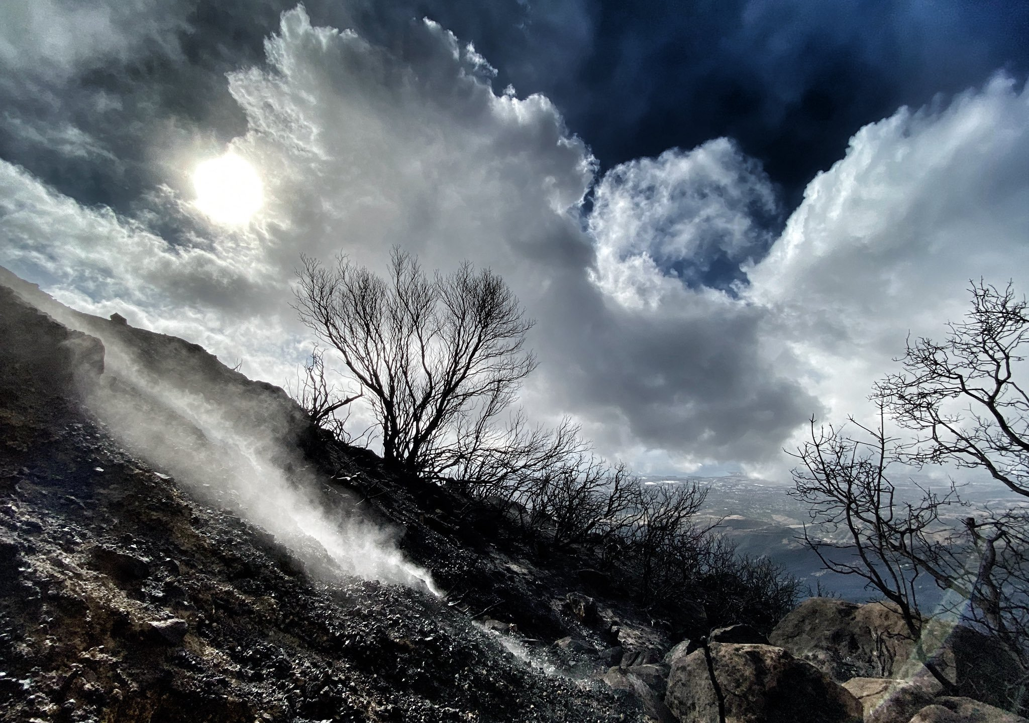 A burn area on East Camino Cielo smolders after rain soaked the Cave Fire burning near Santa Barbara on Nov. 27, 2019. (Credit: Eliason Mike/Santa Barbara County Fire Department)