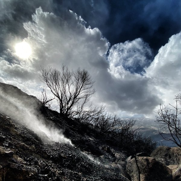 A burn area on East Camino Cielo smolders after rain soaked the Cave Fire burning near Santa Barbara on Nov. 27, 2019. (Credit: Eliason Mike/Santa Barbara County Fire Department)