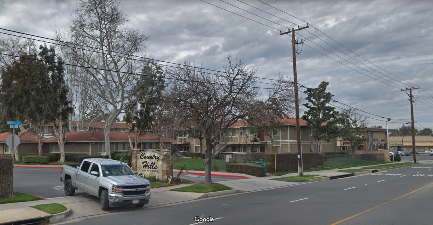 The Country Hills apartment complex in Corona is seen in a Google Maps Street View image.