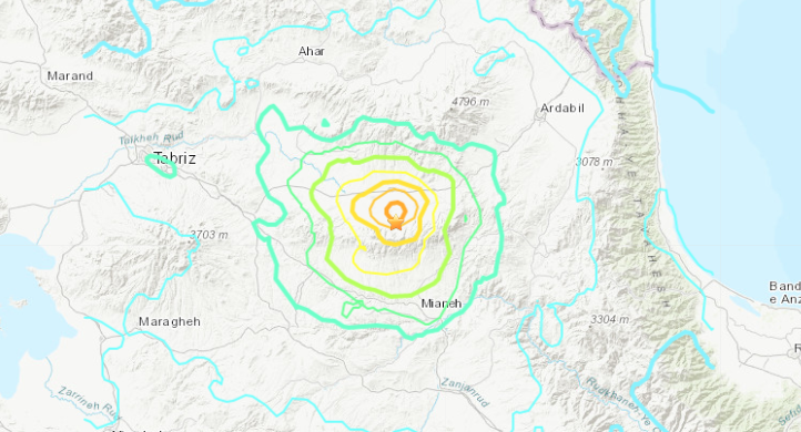A 5.9 magnitude quake that hit Iran on Nov. 7, 2019, is seen in a map from the U.S. Geological Survey.